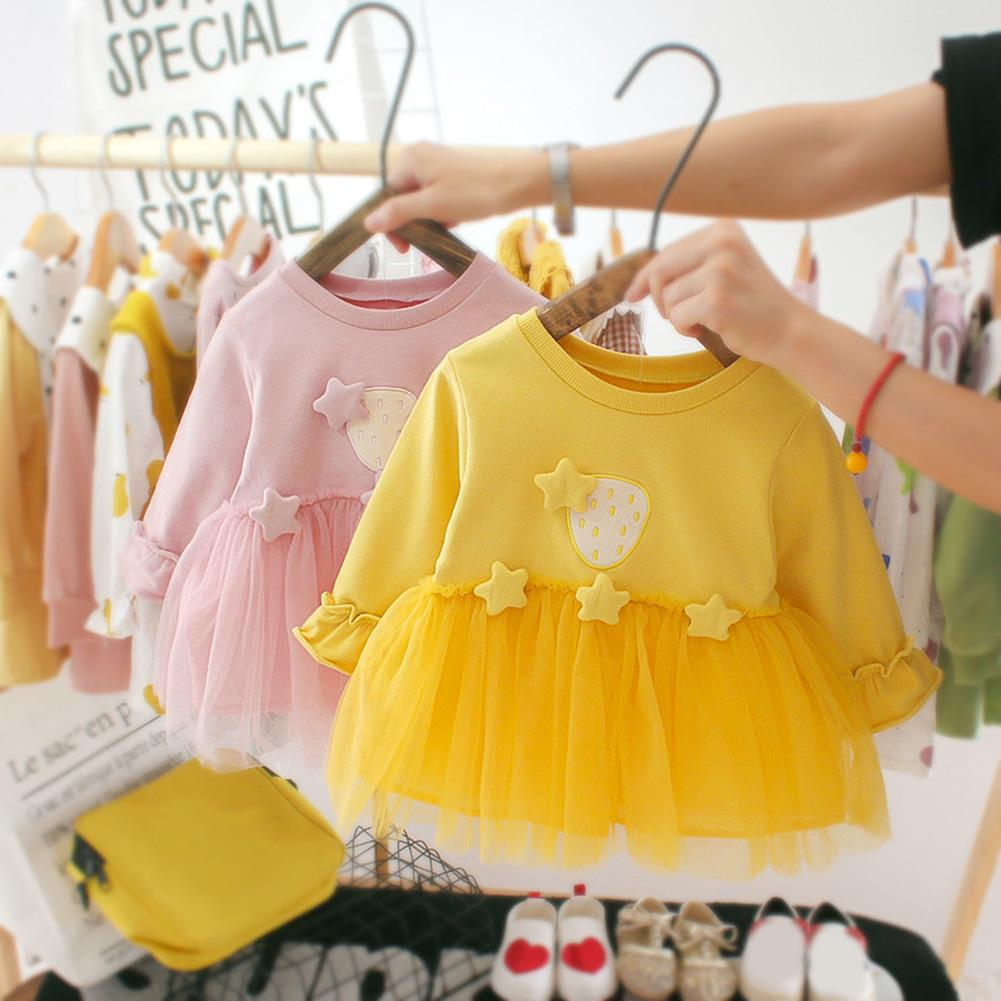 Baby Girls Autumn Solid Color Long Sleeve Stars Decor Stitching Tulle Dress Princess Dresses Clothes