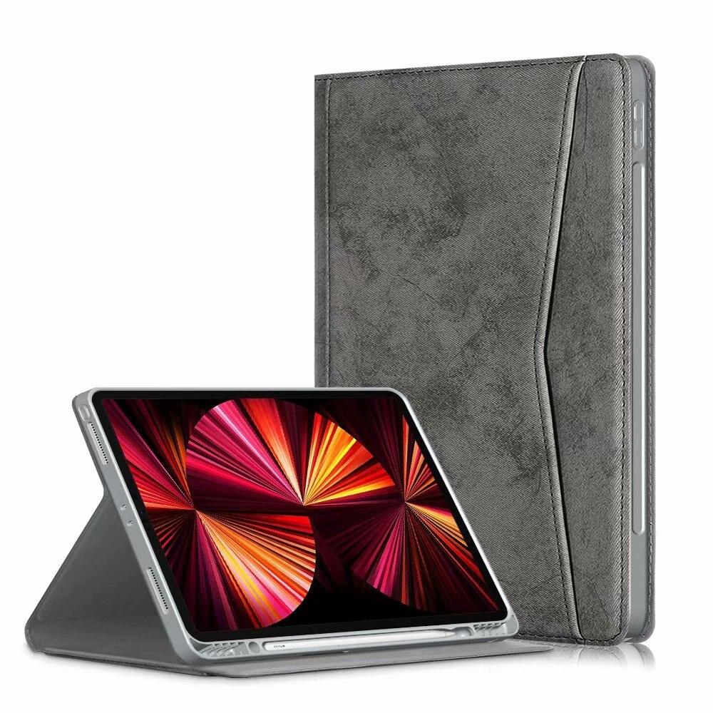 dark gray White Portfolio Case for iPad Pro 11 2021 2020 2018 Multi Angle Viewing Premium Leather Auto Sleep