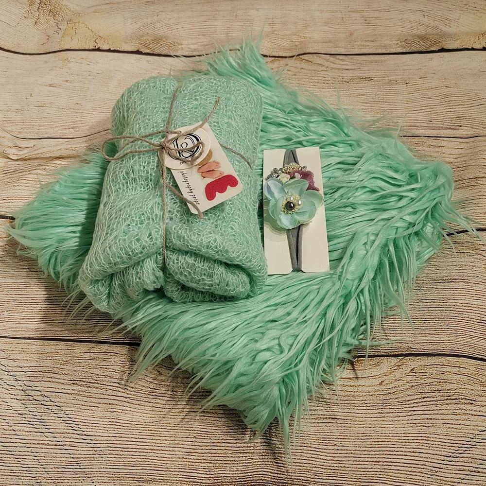 75*50cm Soft Long Pile Faux Fur MONGOLIAN FUR Blanket +150*45cm Stretch Lace Knit Wrap With Ball Fringe+matched Cotton Headband