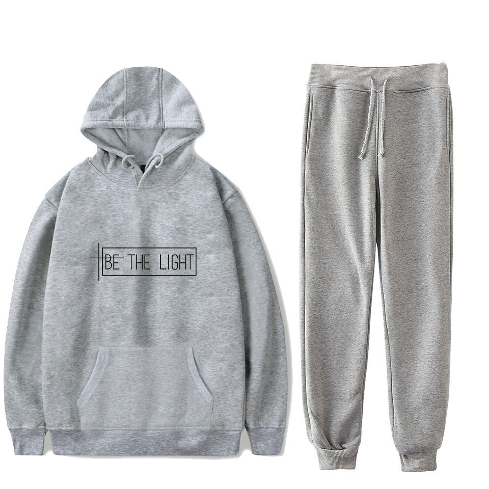 《Real Hasta La Muerte》《be The Light》 Hooded Sweater + Athletic Pants Men And Women