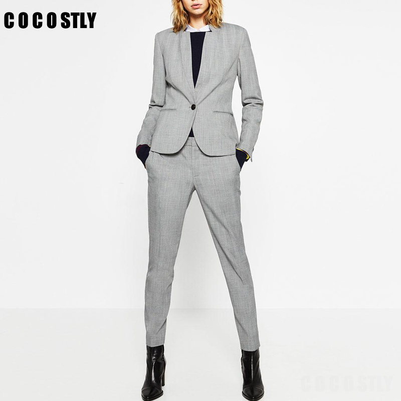2020 Autumn Business Pants Suit Vintage Solid Single Button Blazer Coat Feminino Trouser Female Office 2 Pieces Set Women Mujer