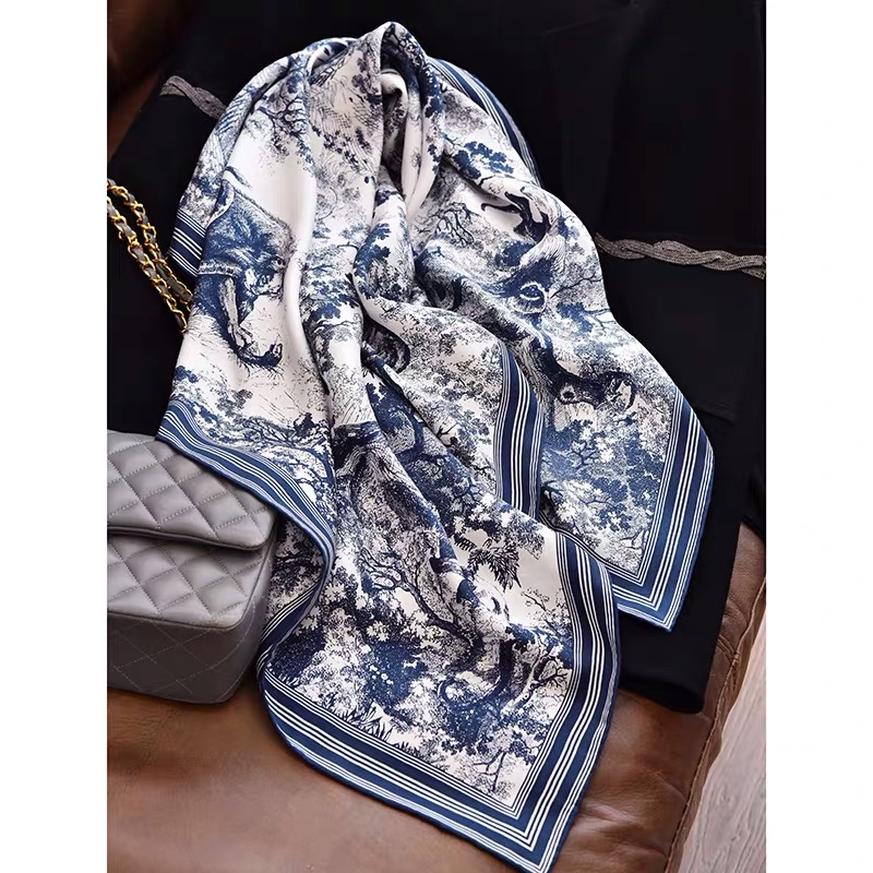 2020 New Arrival Spring Classic Tree Pattern 100% Pure Silk Scarf Twill Hand Made Roll 90*90 Cm Shawl Wrap For Women Lady