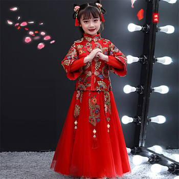 2020 Chinese Style Standing-Collar Spring Festivals New Year Party Princess Long Dress For Children Girls Piano Costumes Dress