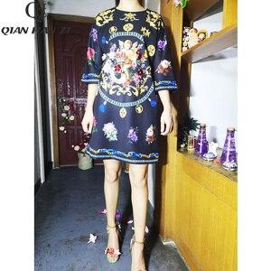 Image 2 - Qian Han Zi 2019 designer mode automne robe femmes 3/4 Vintage fleur imprimer paillettes perlé lâche robe