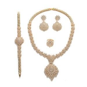 Image 5 - Jewelry Set HADIYANA Vintage Graceful Wedding Bridal Necklace Earrings Ring And Bracelet Set CN1192 Parure Bijoux Femme Mariage