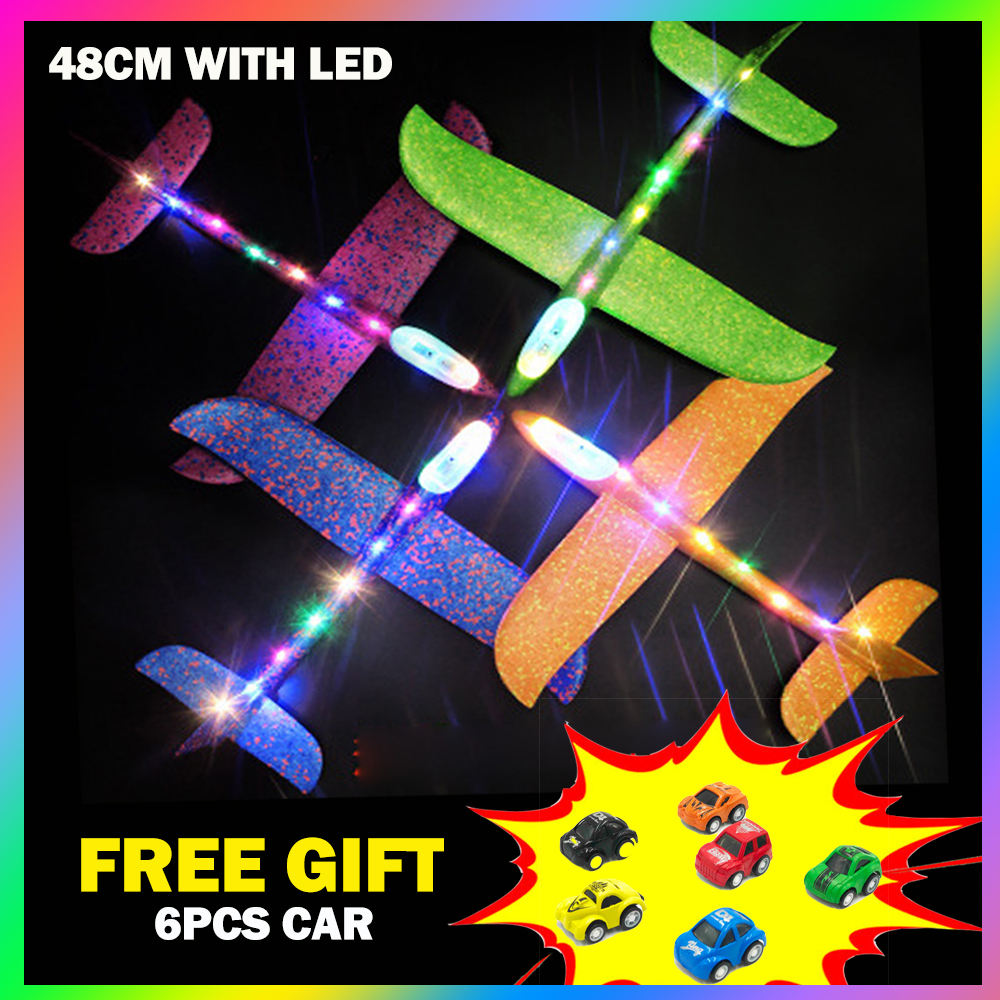 48cm LED Hand Throw Fly Glider Free Pull Back Car Toys EPP Foam Plane Outdoor Launch Airplane Toys For Children Puzzle Model