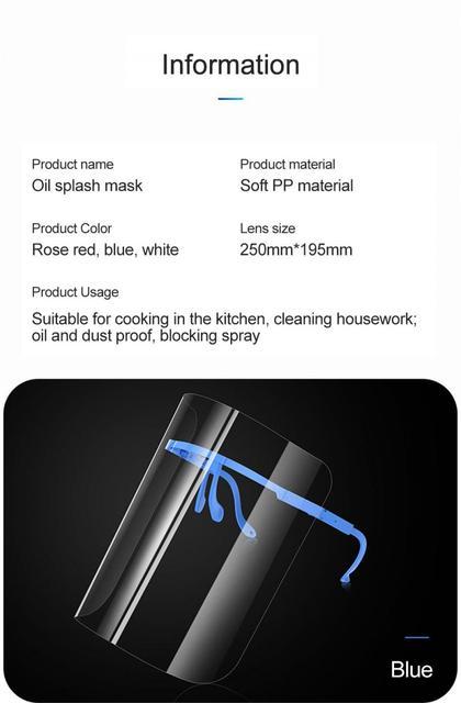 1PC Splash-Proof Protective Face Shield Reusable Full Face Protective Shield Saliva Protection Clear Visor Kitchen Accessories 5