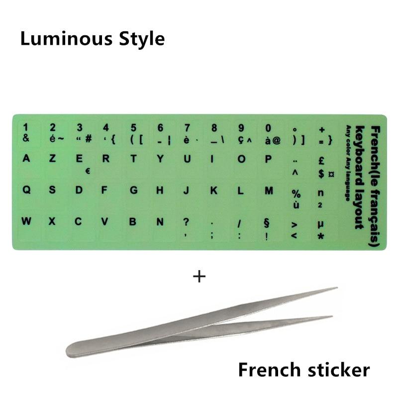NEO STAR прозрачные и светящиеся наклейки на клавиатуру русский/испанский/английский/французский/немецкий/Корейский буквы защитный чехол для ноутбука - Цвет: 09 French sticker