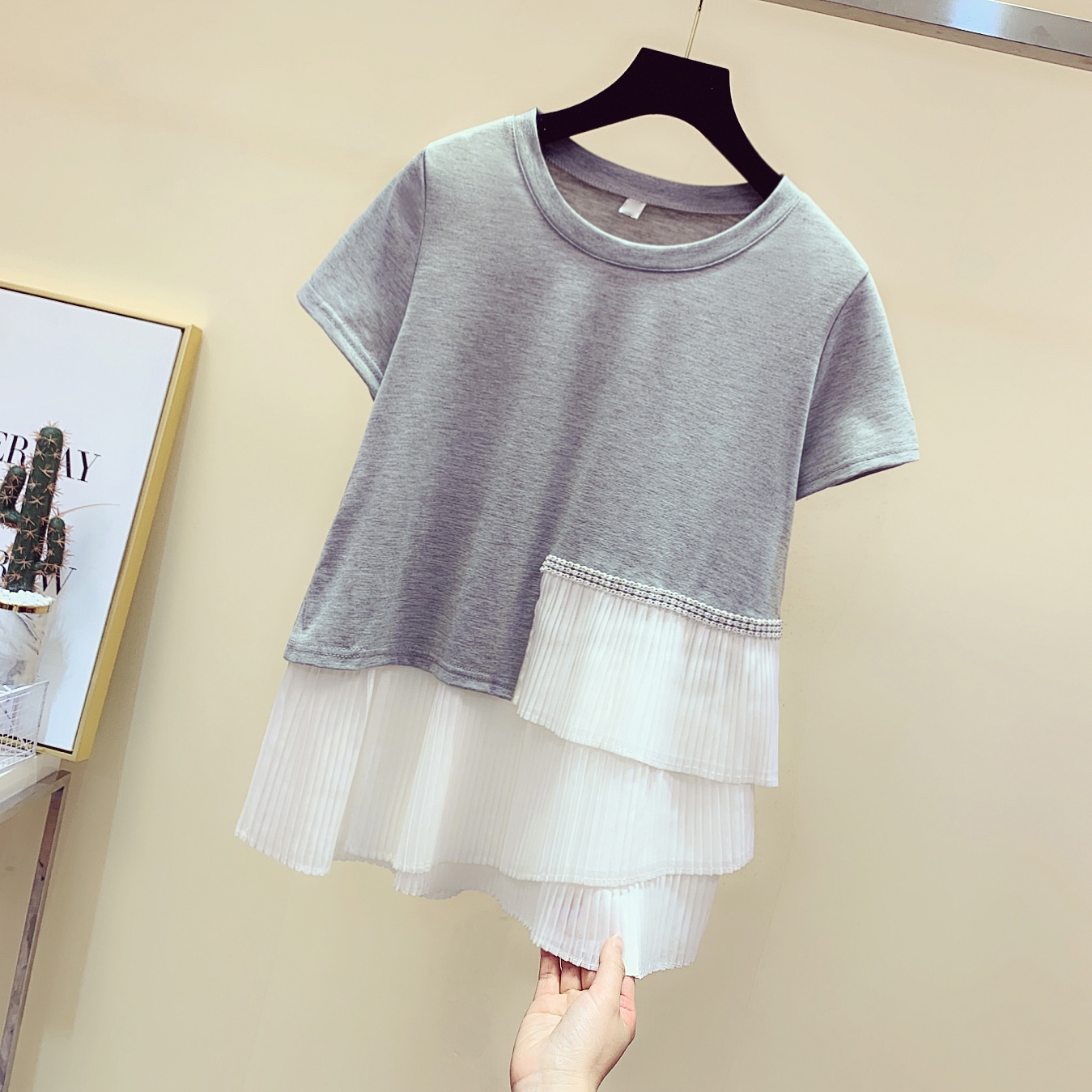 Chiffon Irregular Stitching Diamond Short Sleeve Cotton T-shirt Women's 2020 Spring Summer New Korean Style Tshirt Loose Grey T