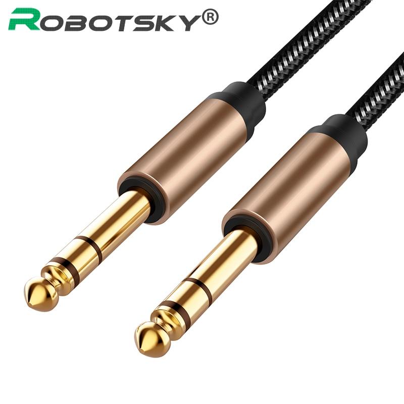 6.5mm jack cabo de áudio náilon trançado para guitarra mixer amplificador 6.35 jack macho para macho aux cabo 1.5m 1.8 cabo jack aux cabo cabo cabo cabo cabo cabo cabo