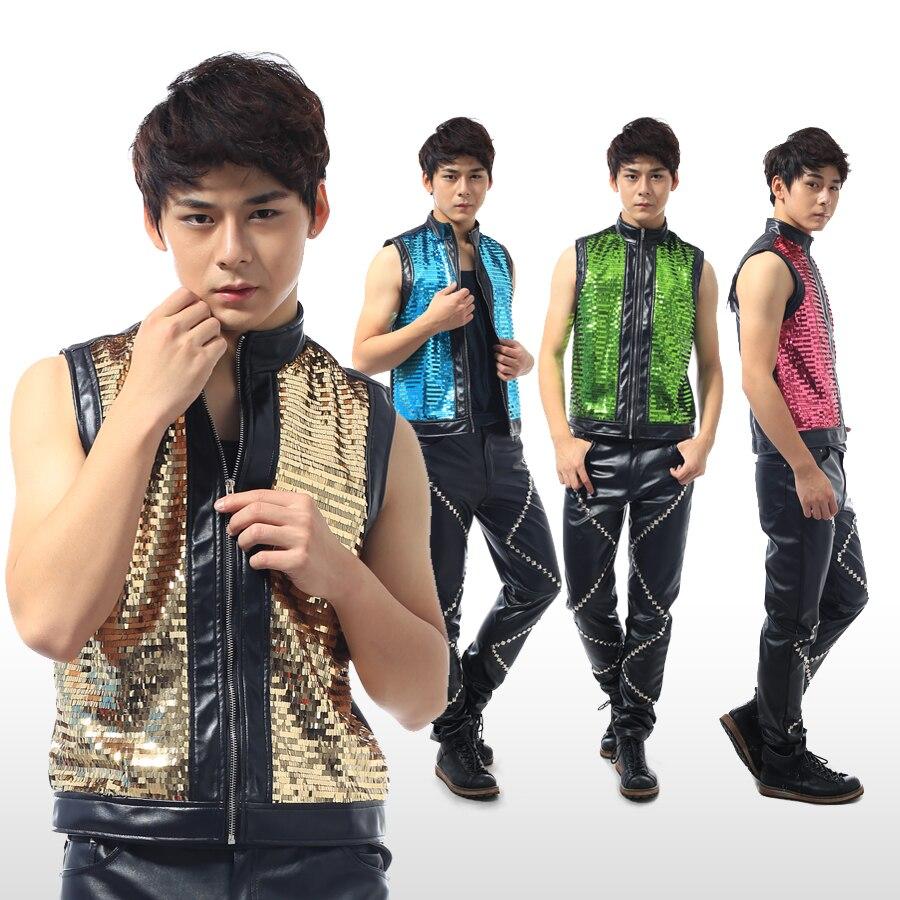 New NightClub Male Dance Costume Sequin Top Sleeveless Bright Coat Vest Bar GoGo DS Dj Costume Singers Gold Stage Costume BL2115