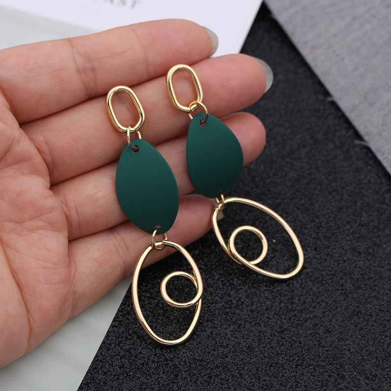 2019 Fashion Big Statement Earrings for Women Retro Personality Exaggerated Gold Silver Metal Long Party Earrings Red Green Blue