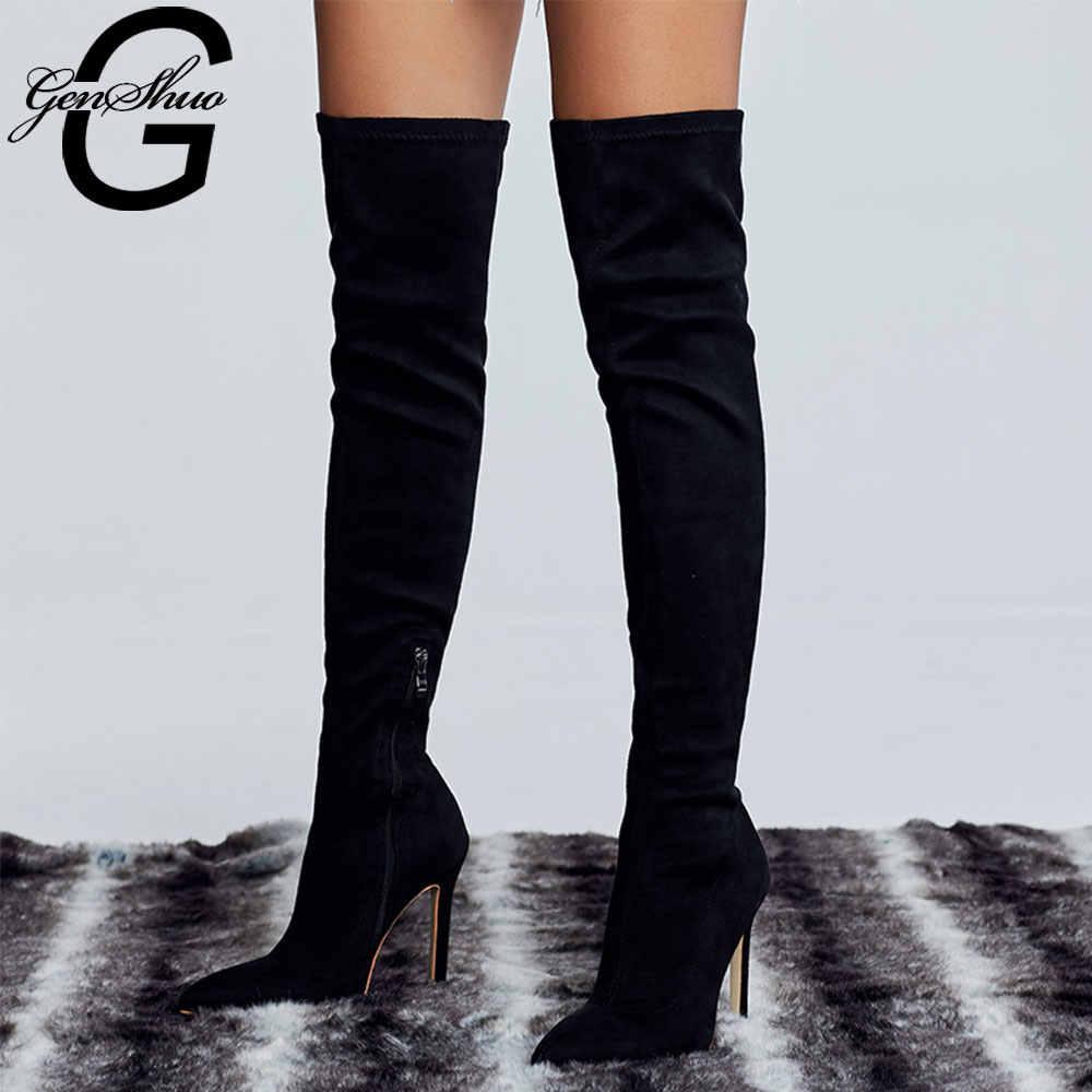 GENSHUO Faux daim mince sur le genou bottes hiver femmes bottes Sexy cuissardes femme pointu bottes à talons hauts grande taille 42