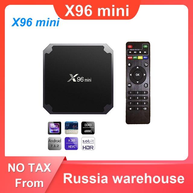 X96 صندوق تليفزيون صغير أندرويد 7.1 مربع التلفزيون الذكية 2GB 16GB / 1GB 8GB Amlogic S905W رباعية النواة 2.4GHz واي فاي مجموعة صندوق X96mini