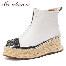 Meotina Winter Ankle Boots Women Natural Genuine Leather Platform Wedge High Heel Short Boots Rhinestone Zipper Shoes Lady Fall(China)