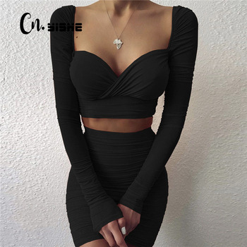 CNYISHE Winter 2020 Two Piece Sets Elegant Crop Top and Mini Skirts Suits Women's Tracksuit Solid Office Lady Matching Set Suit 1