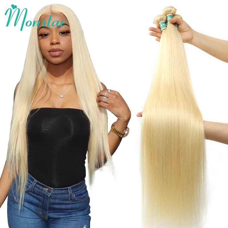 Monstar 1/3/4 613 Blond Steil Haar Bundels Peruaanse Remy Human Hair Extension Honey Blonde Bundels 8- 40 inch Gratis Verzending