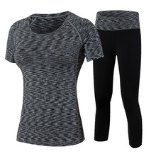 2Pcs Yoga Suits New Fitness Women Wick Workout Sport Gym Clothes Running Pants Compression Tights T shirt Tracksuits Yoga Set(China)