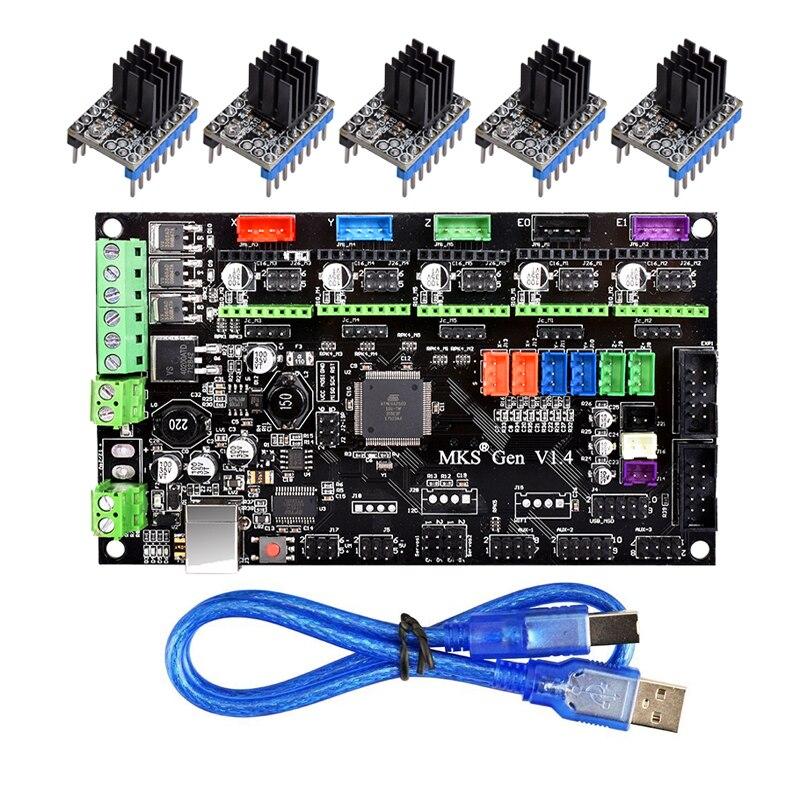 Carte de commande d'imprimante 3D MKS Gen V1.4 à TMC2130/TMC2208/DRV8825/A4988 pilote Reprap Mega 2560 R3 rampes 1.4 1.5 1.6 carte mère