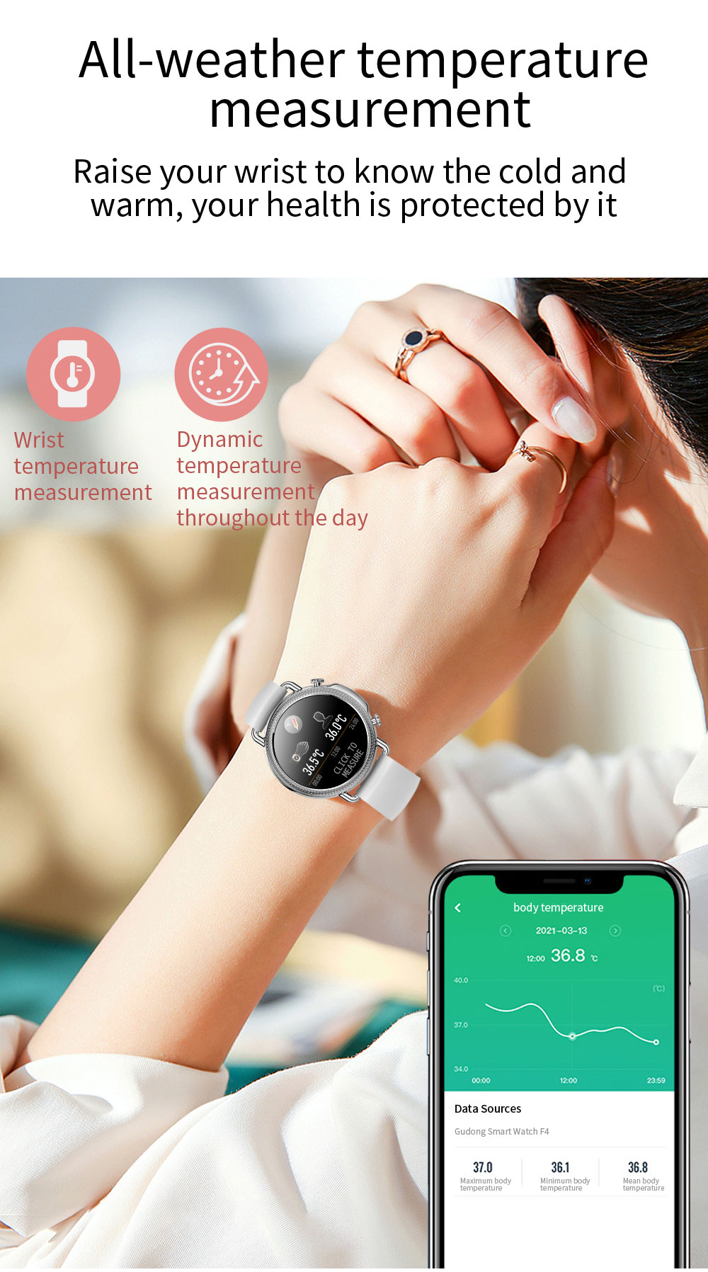H5968c04b64c54bae9f6bb0111da73030e 2021 Women Smart Watch 1.28 inch HD Screen IP67 Waterproof Lady's Watches Body Temperature Heart Rate Monitor PK V23