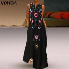 VONDA летнее модное женское платье Макси сексуальное с v-образным вырезом без рукавов с принтом богемное длинное платье Вечерние платья больших размеров