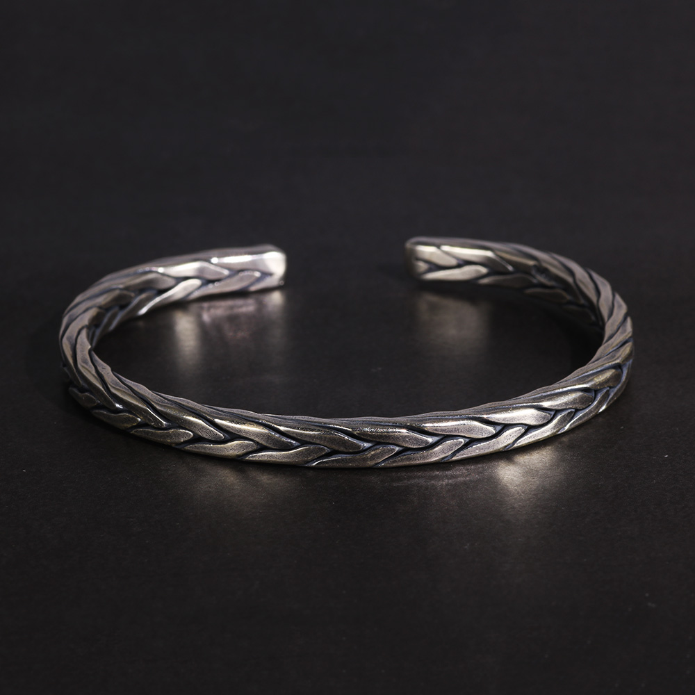 Bracelet viking torsion Rétro argent  2