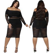 Best Selling Mesh Patchwork Women Sexy Clubwear Dress Autumn Sexy Slash Neck Long Sleeve Bodycon Big Size Knee-Length Dresses