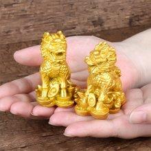 2 sztuk chiński kirin figurki, żywica Feng Shui dekoracja z motywem zwierzęcym, sztuka nowoczesna sculptureFeng Shui prezent figurki dla domu i biura