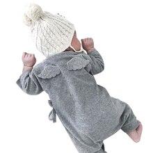 Детские комбинезоны с длинными рукавами, маленький хлопковый белый серый комбинезон для новорожденных девочек, сдельник для ребенка, первый день рождения, крылья феи для мальчиков 3-18 месяцев