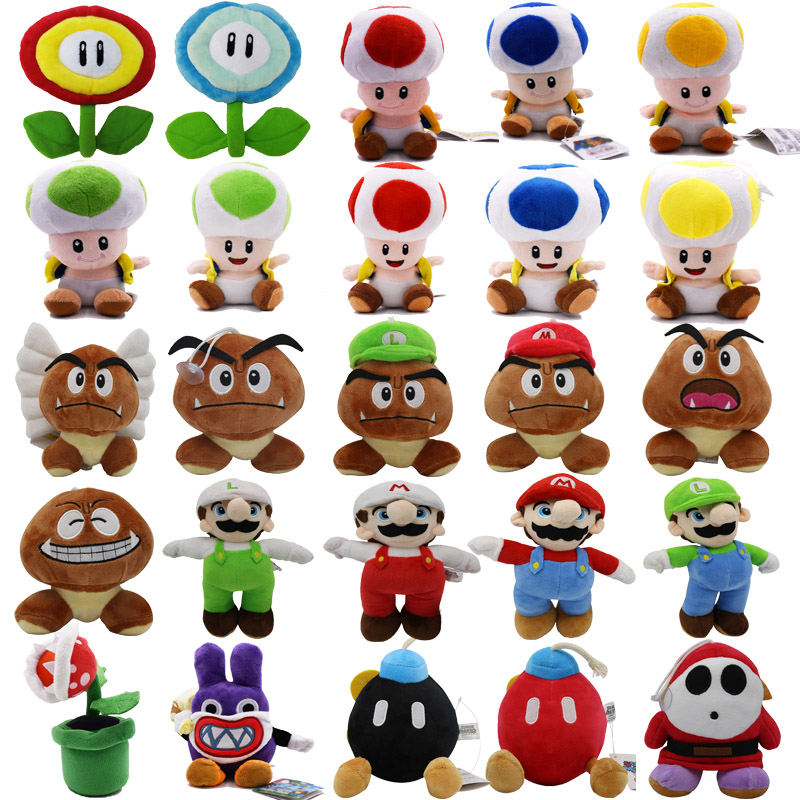 24Styles 6-25CM Super Mario Bros Boo Luigi Toadette Mushroom Goomba Stealth Rabbit Koopa Shy Guy Dry Bones Plush Toys Kids Gifts