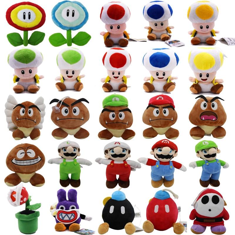 24Styles 6-25CM Super Mario Bros Boo Luigi Toadette Mushroom Goomba Stealth Rabbit Koopa Shy Guy Dry Bones Plush Toys Kids Gifts