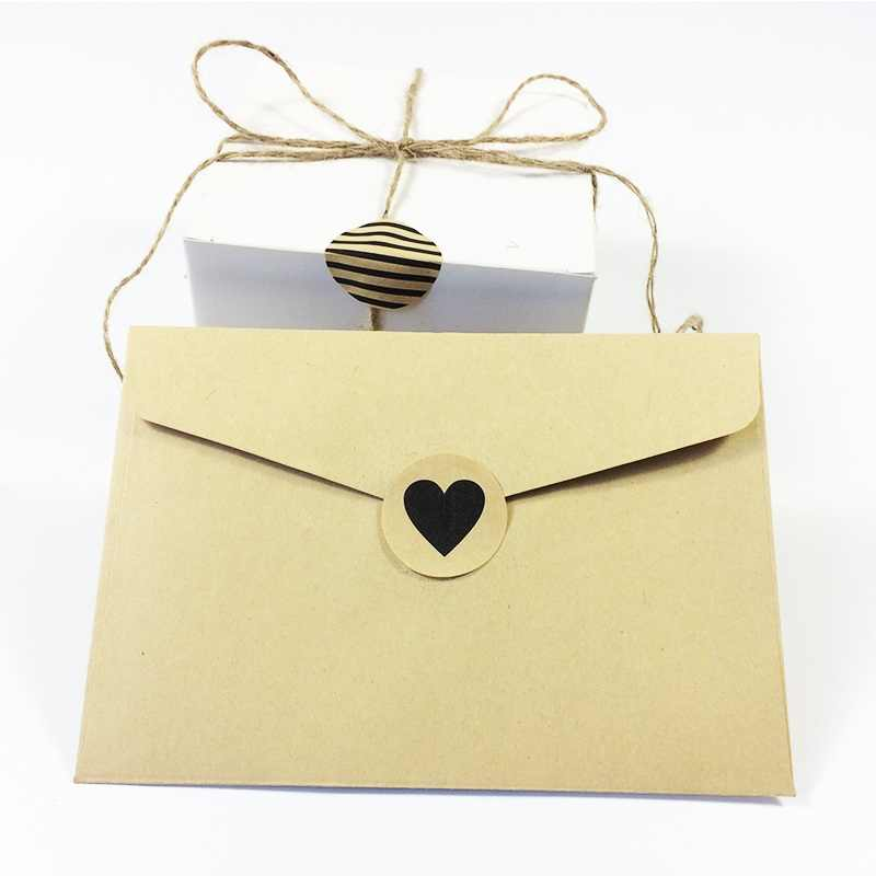 Lote de 90 unidades de pegatinas de papel Kraft redondas, Serie de sarga de lunares y corazones, para productos hechos a mano, etiqueta adhesiva con sello para regalo