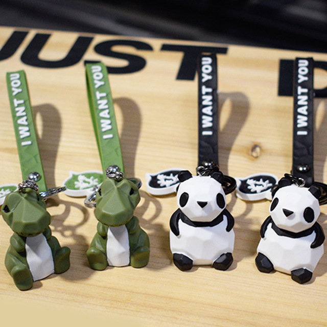 Cartoon Geometry Frog Dinosaur Key chain Fashion Creative Animal Keychains Men and Women Car Bag Ring Children Toys Gifts