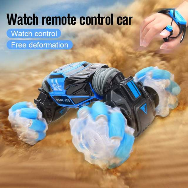 4WD RC Stunt Car Watch Control Gesture Induction Deformable Electric RC Drift Car Transformer Car Toys for Kids with LED Light 4