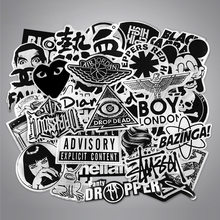 50 PCS Metallic Color Black and White Stickers Random Graffiti Punk Sticker for Laptop Stickers Toys DIY Skateboard Motorcycle(China)