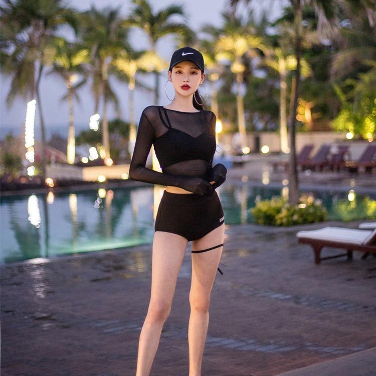 Black Crop Tops and Panties Swimwear Women Summer Sexy Beachwear Mesh Long Sleeve Cover Ups Three Piece Swimsuit Bikini Set 3