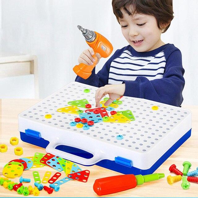 어린이 도구 세트 완구 어린이 드릴 퍼즐 장난감 전기 드릴 완구 스크류 완구 소년 키즈 드릴 세트