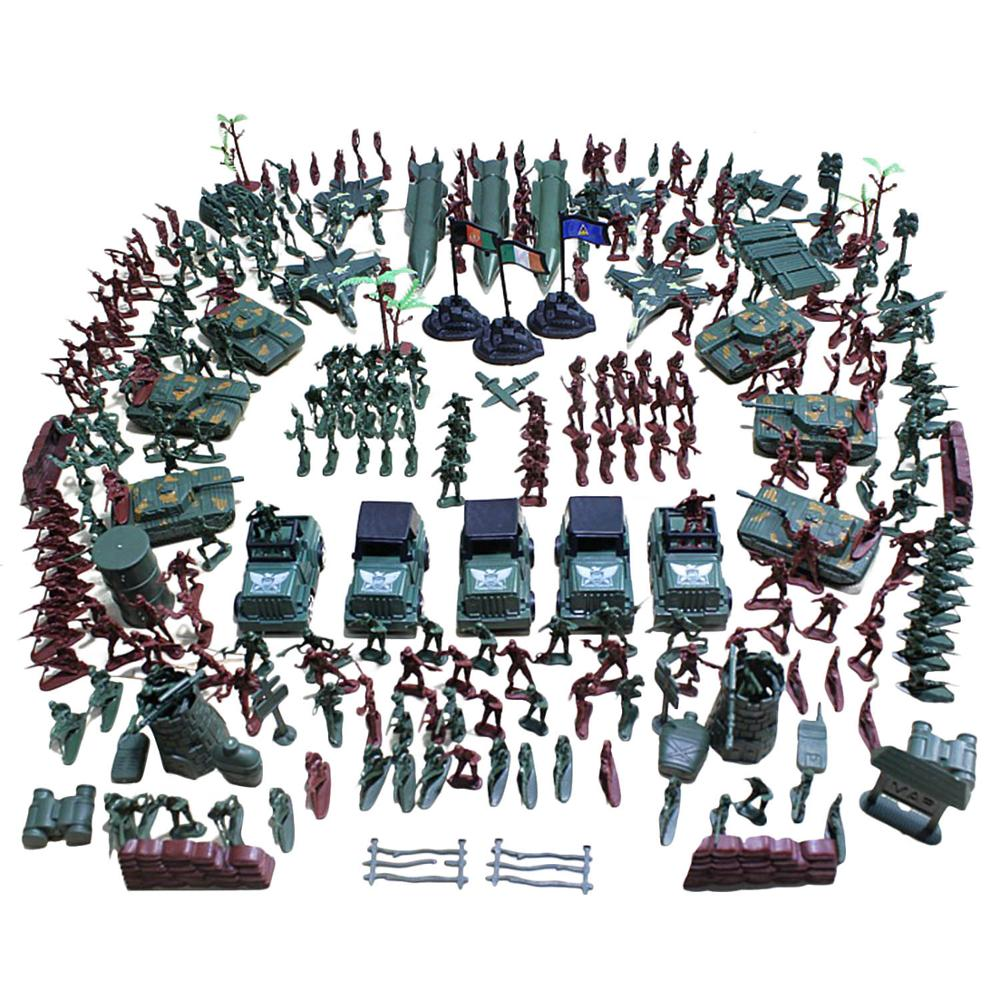 Besegad 307pcs Plastic Army Men Action Figures Battle Group Military Soldier Playset With Army Base Model Toys Accessories