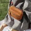 EUMOAN Vintage small square bag, female slant wide shoulder strap simple shoulder bag, college wind slant bag