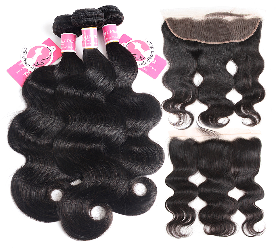H596960a13f2048518c02acadc4a07e19w AliPearl Brazilian Body Wave 3 Bundles With Frontal Closure Brazilian Hair Weave Bundles With Frontal 13x4 Remy Hair Extension