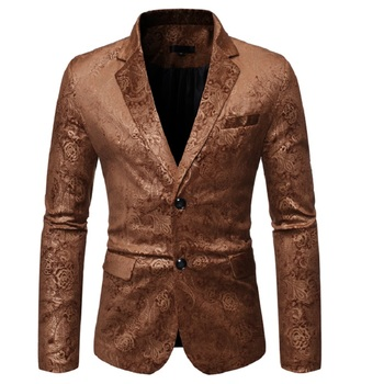 New men's Gold stamping dark pattern men's casual two button suit