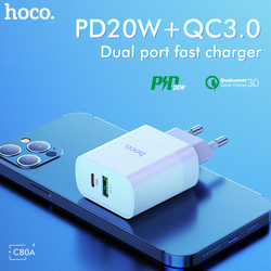 Hoco PD20W QC3.0 Fast Charging Dual Port Adapter For iPhone 12 Pro Max 11 XR EU US UK Plug USB Type C Charger For Xiaomi Mi 11