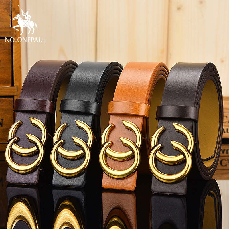 NO.ONEPAUL Soft leather fashion double ring buckle decoration retro trend ladies   belt   tight jean with a waist   belt   free shipping