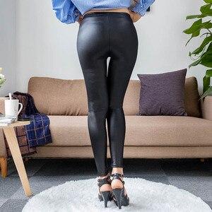 Image 3 - S 5XL חדש סתיו 2020 האופנה פו עור מט עור מכנסיים נמתח בתוספת גודל 4XL 5XL סקסי אלסטי דק שחור נשים חותלות