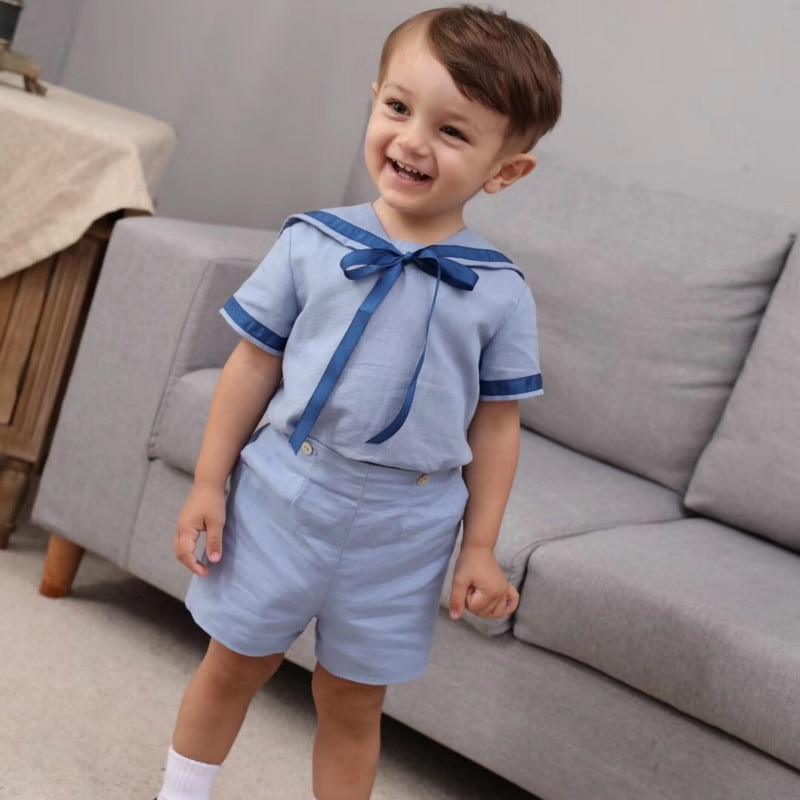 Spanish Children Cotton Short Sleeve Girls Dress Navy Wind British Princess Dress Boys Shirt+pants Sisiter And Brother Clothes