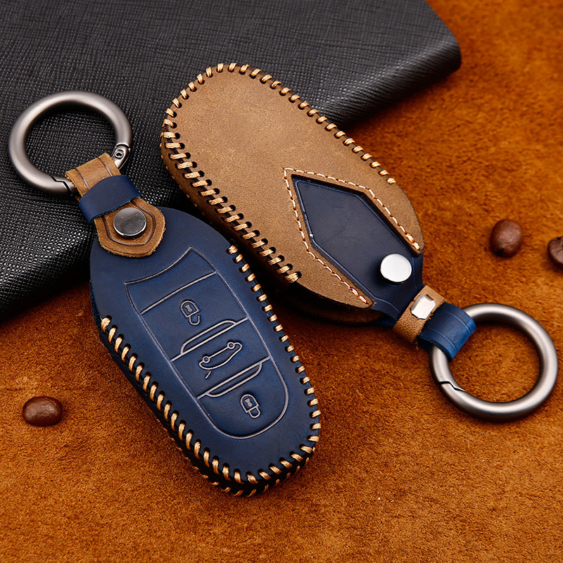 Leather Car key case Smart Remote Key cover shell fit for Peugeot 3008 4008 5008 Citroen C4 C4L C6 C3-XR Accessories Keychain