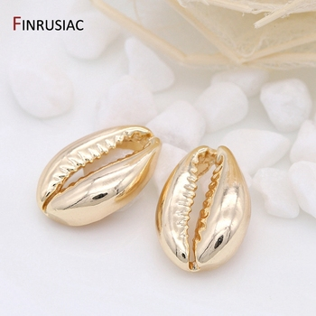 FINRUSIAC Jewellery Making Supplies Sea Shell Charm Pendants For DIY Necklace Bracelet Earrings Accessories 14K Gold Plated 2020 new designer flower charm plated gold rose pendant diy earrings charms making necklace accessories