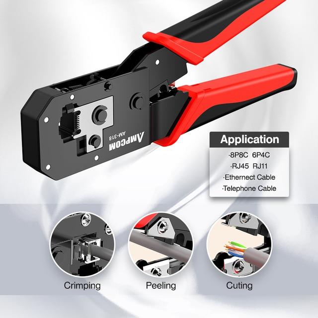 AMPCOM RJ45 Crimping Tool Ethernet Network LAN Cable Crimper Cutter Stripper Plier Modular 8P RJ45 and 6P RJ12 RJ11 5