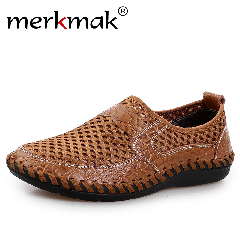 Merkmak Summer Sandals Men's Shoes Fashion Genuine Leather Casual Light Mesh Loafer Breathable Holes Male Flats Shoes Drop Ship