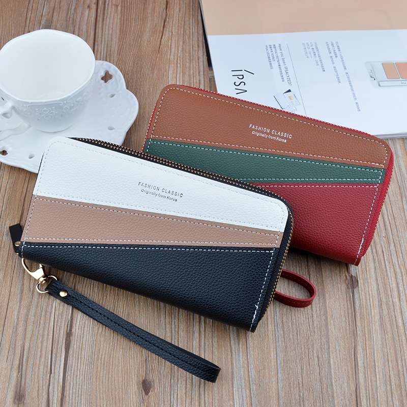 Hot sale women's wallet long large-capacity wallet Korean stitching hit color coin purse storage wallet